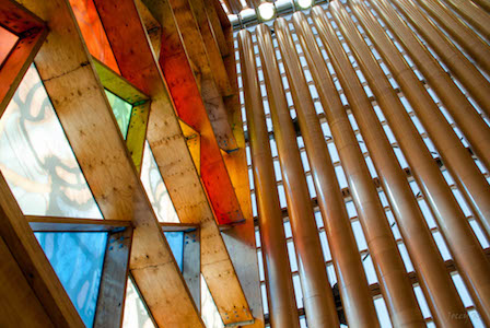 Windows in Cardboard Cathedral (Christchurch, NZ, By Jocelyn Kinghorn (Flickr: Cardbroad, Wood and Glass) [CC BY-SA 2.0 (http://creativecommons.org/licenses/by-sa/2.0)], via Wikimedia Commons)